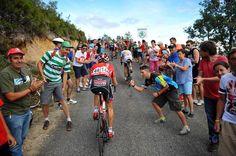 Vuelta a España 2014 - Stage 14: Santander - La Camperona. Valle de Sábero 200.8km - A lot of cheering fans on the final climb of stage 14