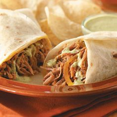 Shredded Pork Burritos Slow Cooker Recipe from Taste of Home -- shared by Katherine Nelson of Centerville, Utah  #slow_cooker  #crockpot
