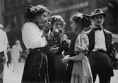"""Lunch Time New York 1910  Photo: Lewis Hine    Then there's always the Miss Manners staple, """"Why do you ask?"""""""