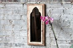 Small Mirror Reclaimed Vintage Indian Door Panel Wall Hanging Art Distressed Cream and Tan Color Mirror