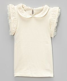 Look what I found on #zulily! Ivory Pointelle Angel-Sleeve Top - Infant, Toddler & Girls #zulilyfinds
