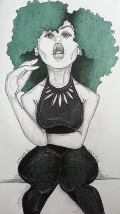 agarts-illustrated:Green curls by Aleshia Greene July 2014 http://agarts-illustrated.tumblr.com   : : submission : :