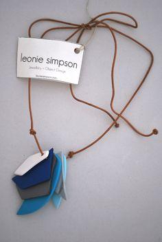 Angular Necklace - Blue, by Leonie Simpson (LCN01)