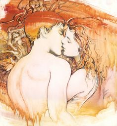 kiss love woman man boy girl couple romantic pair valentine marriage wedding erotic art drawing abstract realism watercolour painting gift