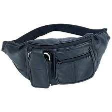 Black Solid Leather Waist Fanny Pack 6 Pocket Travel Belt Bag Cellphone Holder