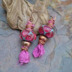 Aladdin's Lamp, Lampwork, Sari Silk and Copper Earrings by KristiBowmanDesign.Etsy