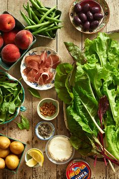 A Trio of Summer Salads:  Wilted Chard and Prosciutto Salad; Nicoise Salad; Butter Lettuce and Broiled Peach Salad with Sheep's Cheese Toasts | recipes from Anthology