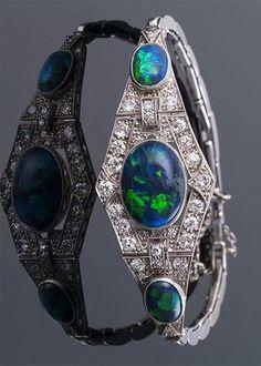 Art Deco Black Opal and Diamond Bracelert ~ M.S. Rau Antiques