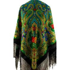 Rare extra large Russian Shawl with silk knitted long fringe