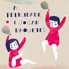 HAPPINESS IS TO PLAY BEACH TENNIS, Illustrated by Yara Kono