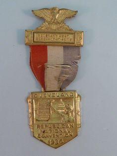 RARE Original 1936 Republican National Convention Sergeant at Arms Badge Medal