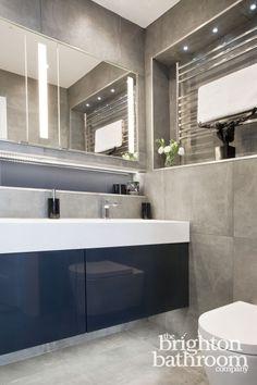 Double basin bespoke vanity with mosaiced wetroom —Hove Mood Light, Brighton, Basin, Bespoke, Basement, Innovation, Bathtub, Vanity