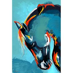 Add a distinct Western flavor to your wall when you hang this contemporary horses wall art by artist Maxwell Dickson. This large gallery-wrapped canvas art features an exquisite, abstract rendition of a horses head on a field of blue color.