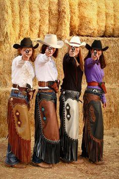 Arizona Cowgirl Mounted shooting. Chinks by Sierra Custom Leather.
