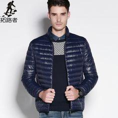 Gratis verzending! Nieuwe mode 2015 winter heren donsjack effen dunne ademende mens jas casual warme jas witte eendendons mannen