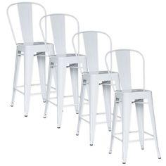 DECO IN PARIS - Lot de 4 chaises de bar metal loft laque blanc tab dossier blanc lot4