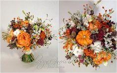 Осенний свадебный букет в оранжево-серой гамме - Олеся Гавриш - свадебная флористика и декор