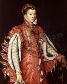 Isabelle de Valois, reine d'Espagne (1546-1568) peint par Sanchez Coello Alonso en 1560