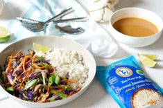 Yummy Thai Peanut Veggie Rice Bowls - Forks and Folly Vegetarian Rice Bowl Recipe, Veggie Rice Bowl, Rice Bowls, Vegetarian Recipes, Cooking Recipes, Veggie Fries, Veggie Stir Fry, Thai Peanut Sauce, Butter Rice