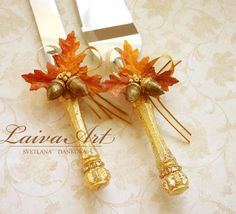 Fall Leaves Thanksgiving Wedding Cake Server Set & Knife Gold Fall Wedding Cake Cutter - pinned by pin4etsy.com