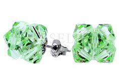Niewielkie kolczyki ze srebra i kryształów Swarovski ELEMENTS w odcieniu zielonym
