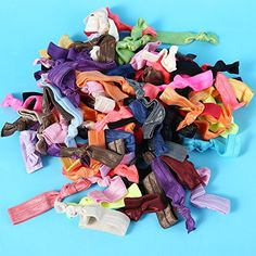 Susufaa 100 Pcs / Lot Candy Color Ribbon Ponytail Holder Yoga Twist Elastic Band or Hair Ties Hair Accessories