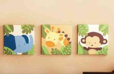 tableaux chambre bébé avec éléphant, girafe et singe
