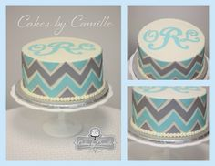 Chevron birthday cake, monogram birthday cake, mint and grey cake, Cakes by Camille, llc Chevron Birthday Cakes, Chevron Cakes, 12th Birthday Cake, Birthday Cakes For Women, Pretty Cakes, Cute Cakes, Cake Cookies, Cupcake Cakes, Elegant Cake Design