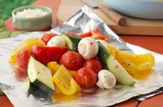 Sensational Foil-Pack Vegetables...I Love, Love Fresh Veggies In Summer!!  Is There Anything Better Than Colored Peppers, Zuchinni & Yellow Squash, Mushrooms, Tomatoes & Onions?  NO...Goes With Any Meat...Be It Chicken, Steak, Roast, or Pork Chops...And This Is A Great, Easy Recipe...
