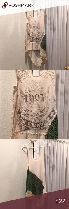Free People Patchwork tank Patchwork cotton tank, a symmetrical design, text graphic on front, only worn once! Great casual summer piece! Free People Tops Tank Tops