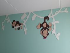 Aapjes hangend in lianen | Nieuw!!! Mdf-deco | MDF-Deco.nl | Houten muurdecoraties