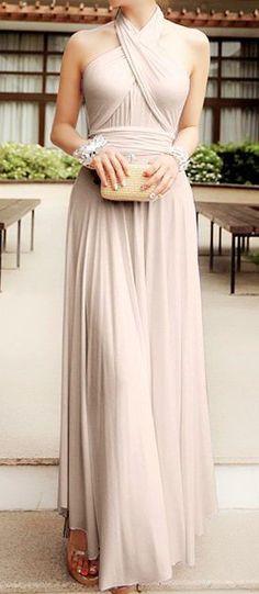 Charming Blush Bridesmaid Dress,Chiffon Halter Evening Dress,Long Bridesmaid Dresses,Floor Length Dresses