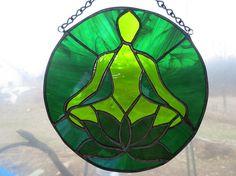 Om Lotus Yoga Stained Glass Suncatcher