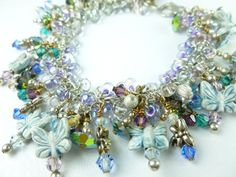 Butterfly and Dragonfly Crystal Sterling Charm Beaded Bracelet Small | dianesdangles - Jewelry on ArtFire