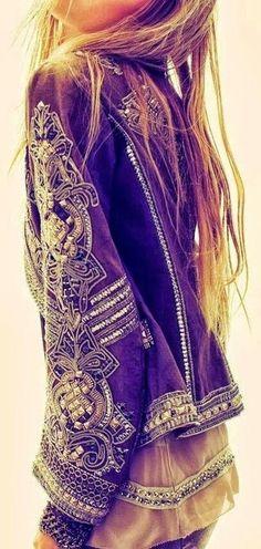 coat black boho hippie bohemian glitzy embroidered
