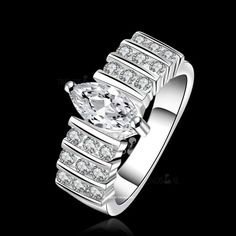 Sterling Silver Marquis Engagement Band Ring http://gcrdesigns.com/product/marquisbandring/ #bridal#engagement