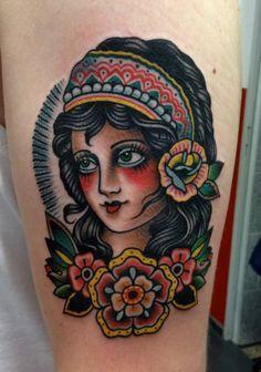 traditional gypsy head tattoo - Google Search
