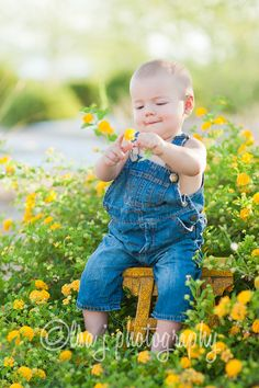 cutest little boy with flowers