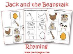 Jack and the Beanstalk Preschool Theme Activities Rhyming Activities, Preschool Literacy, Preschool Lessons, Writing Activities, Kindergarten, Fairy Tale Crafts, Fairy Tale Theme, Fairy Tales, Nursery Rhyme Theme