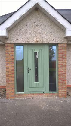 """Palladio Composite """"Seville"""" Door in Chartwell Green Green Windows, Upvc Windows, Windows And Doors, Entrance Doors, Front Doors, Door Design, House Design, Composite Front Door, Outdoor Doors"""