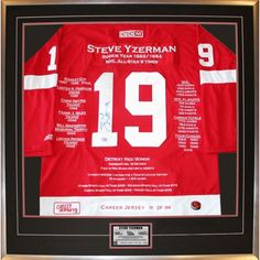 Framed Career Jersey Steve Yzerman Certificate of Authenticity w Accomplishments #AutographAuthentic