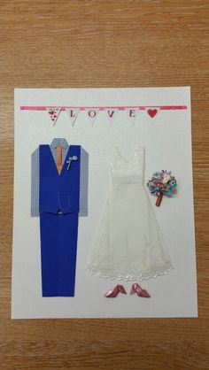 Paper Wedding Anniversary Gift Ideas Uk : Origami wedding dress and suit for paper wedding anniversary with ...