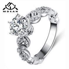 c730d441f3a7 MDEAN Round AAA Zircon White Gold Color Engagement Ring
