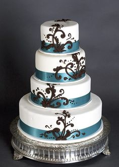 Classic White Wedding Cake with Chocolate Scrollwork