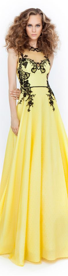Christos Costarellos 2015 yellow maxi dress women fashion outfit clothing style apparel @roressclothes closet ideas