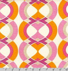 Art Deco Shapes Geo Stripe SORBET Pink from by BrooklynDollFabric, $10.50