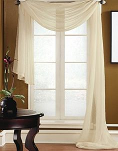 "Gorgeous Home 1 PC SOLID BEIGE SCARF VALANCE SOFT SHEER VOILE WINDOW PANEL CURTAIN 216"" LONG TOPPER SWAG"