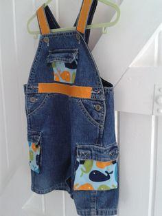 BABY BLUES 'Orange whale' denim dungarees with orange trim and covered pockets. 6-9 mnths £10.00 https://folksy.com/shops/sldelaney