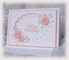 Elegant Handmade Birthday Card with 3D flowers in by nuts4mccoy, $3.95