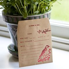 seed package, love the red print on brown paper